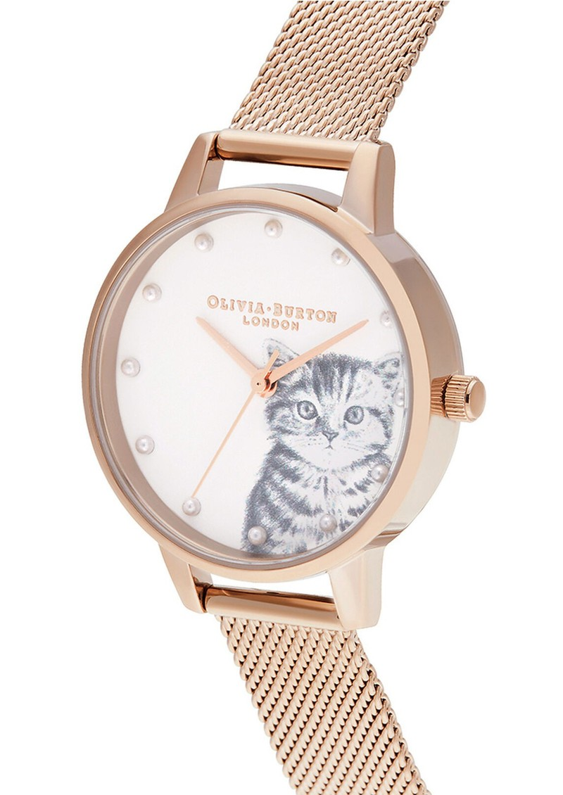 Olivia Burton Illustrated Animals Pearly Kitten Midi Dial Mesh Watch - Pale Rose Gold main image