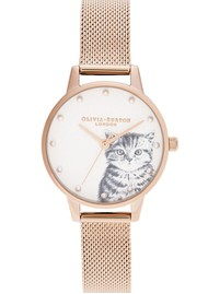 Olivia Burton Illustrated Animals Pearly Kitten Midi Dial Mesh Watch - Pale Rose Gold
