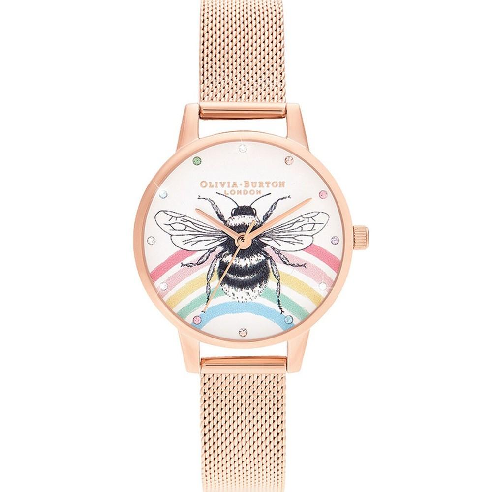 Illustrated Animals Rainbow Bee Midi Dial Mesh Watch - Rose Gold