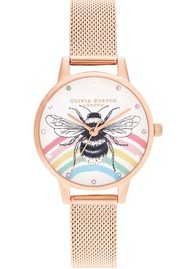 Olivia Burton Illustrated Animals Rainbow Bee Midi Dial Mesh Watch - Rose Gold