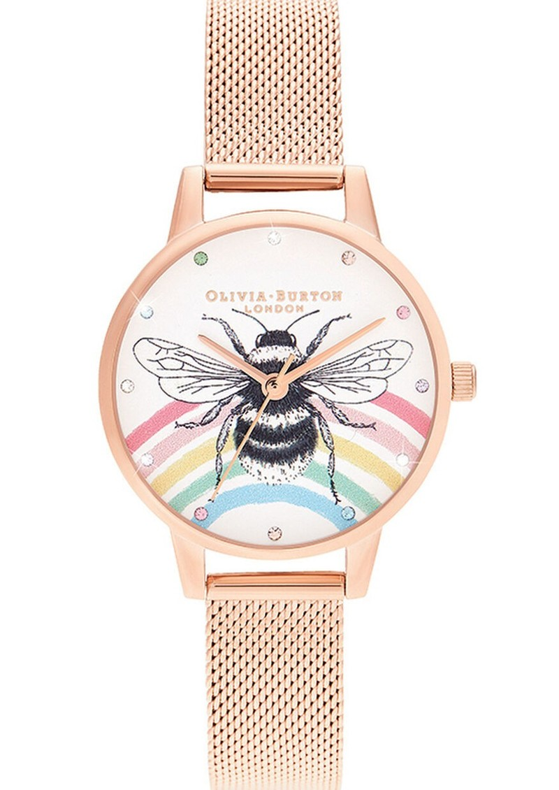 Illustrated Animals Rainbow Bee Midi Dial Mesh Watch - Rose Gold main image