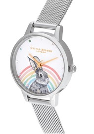 Olivia Burton Illustrated Animals Rainbow Bunny Midi Dial Mesh Watch - Gold & Silver