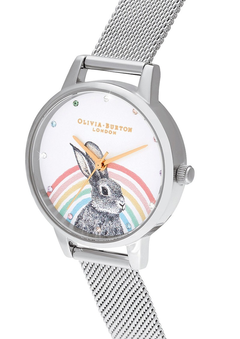 Illustrated Animals Rainbow Bunny Midi Dial Mesh Watch - Gold & Silver main image