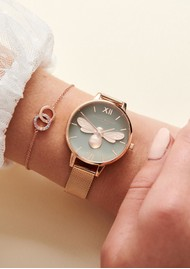 Olivia Burton Lucky Bee Grey Demi Dial Mesh Watch - Rose Gold