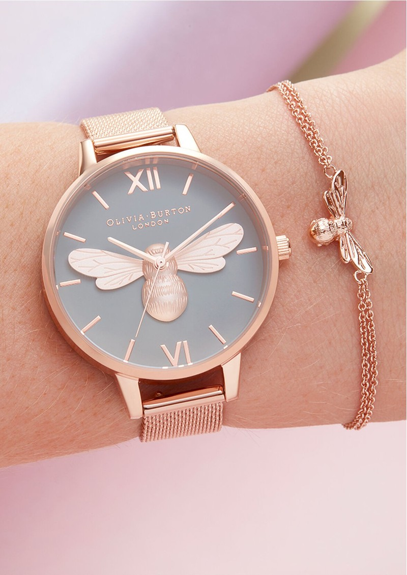 Olivia Burton Lucky Bee Grey Demi Dial Mesh Watch - Rose Gold main image