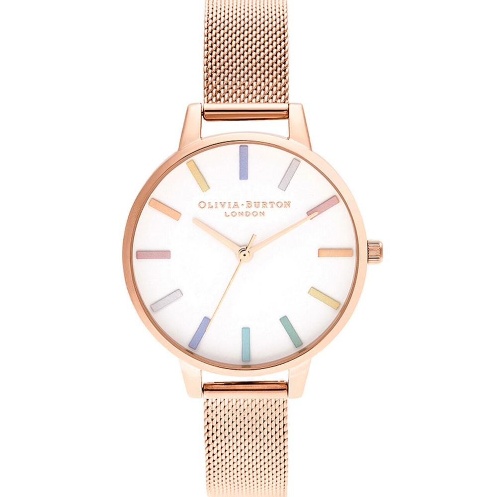 Rainbow Mesh Demi Dial Watch - Rose Gold