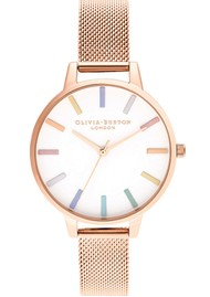 Olivia Burton Rainbow Mesh Demi Dial Watch - Rose Gold