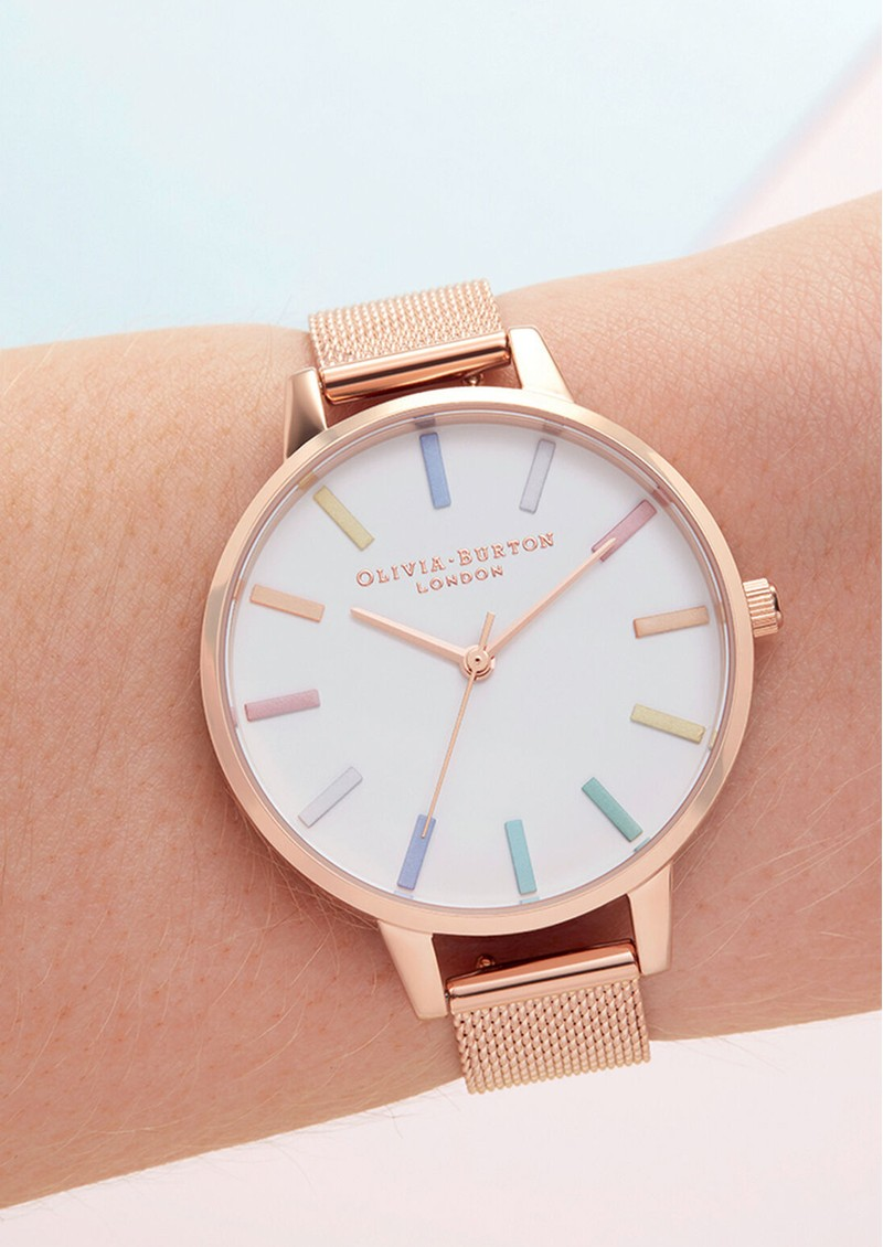 Olivia Burton Rainbow Mesh Demi Dial Watch - Rose Gold main image
