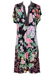 Hale Bob Floral Printed Beaded Dress - Black