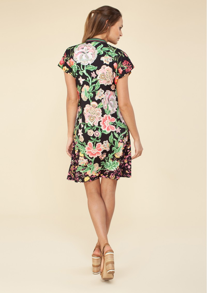Hale Bob Floral Printed Beaded Dress - Black main image