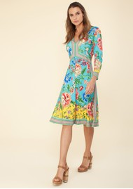 Hale Bob Long Sleeve Floral Printed Dress - Turquoise