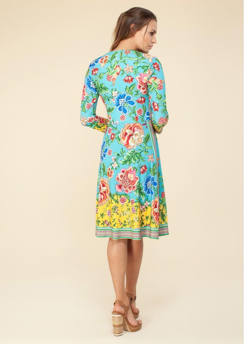 Hale Bob Long Sleeve Floral Printed Dress - Turquoise main image