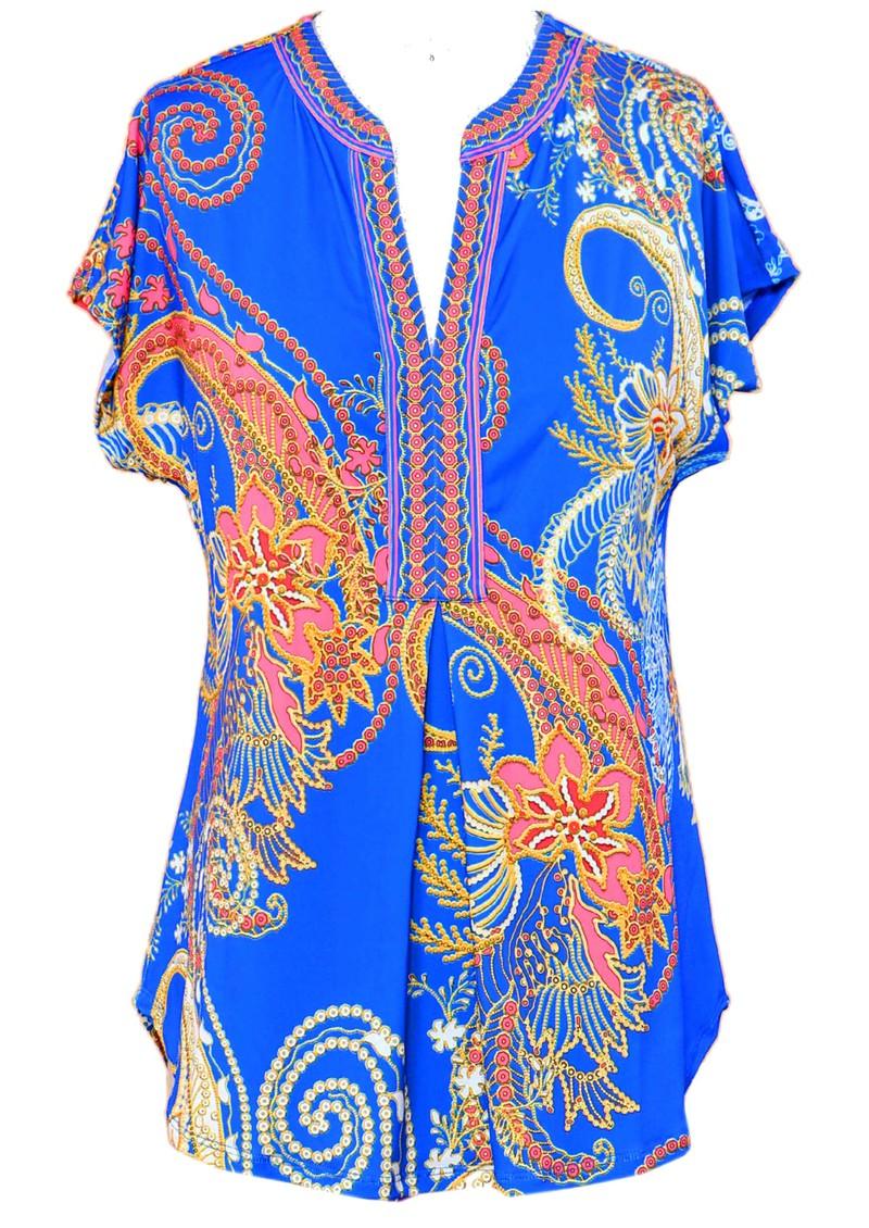 Hale Bob Short Sleeve Printed Top - Blue main image