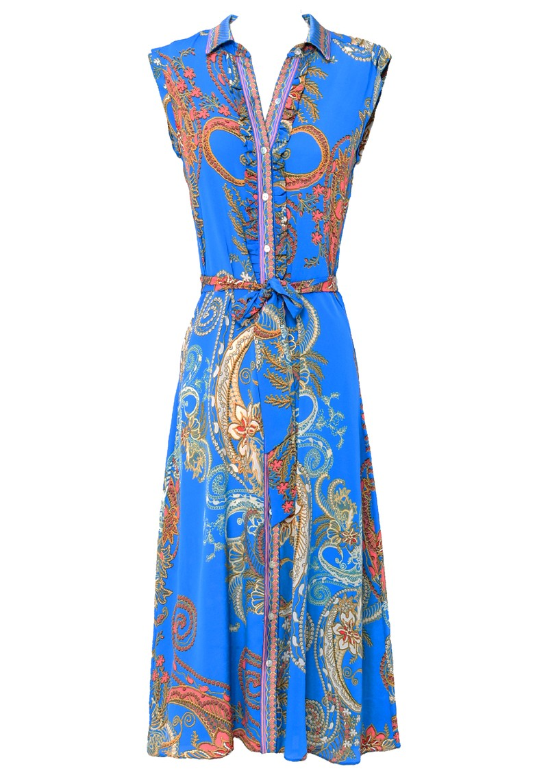 Hale Bob Sleeveless Printed Shirt Dress - Blue main image