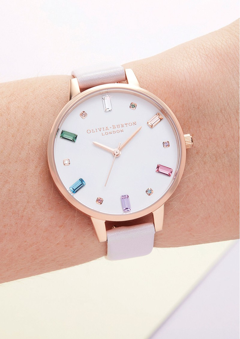 Olivia Burton Rainbow Blossom Demi Dial Watch - Rose Gold main image