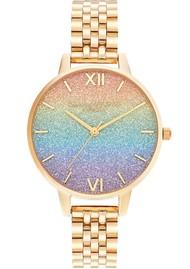 Olivia Burton Rainbow Glitter Demi Dial Bracelet Watch - Gold