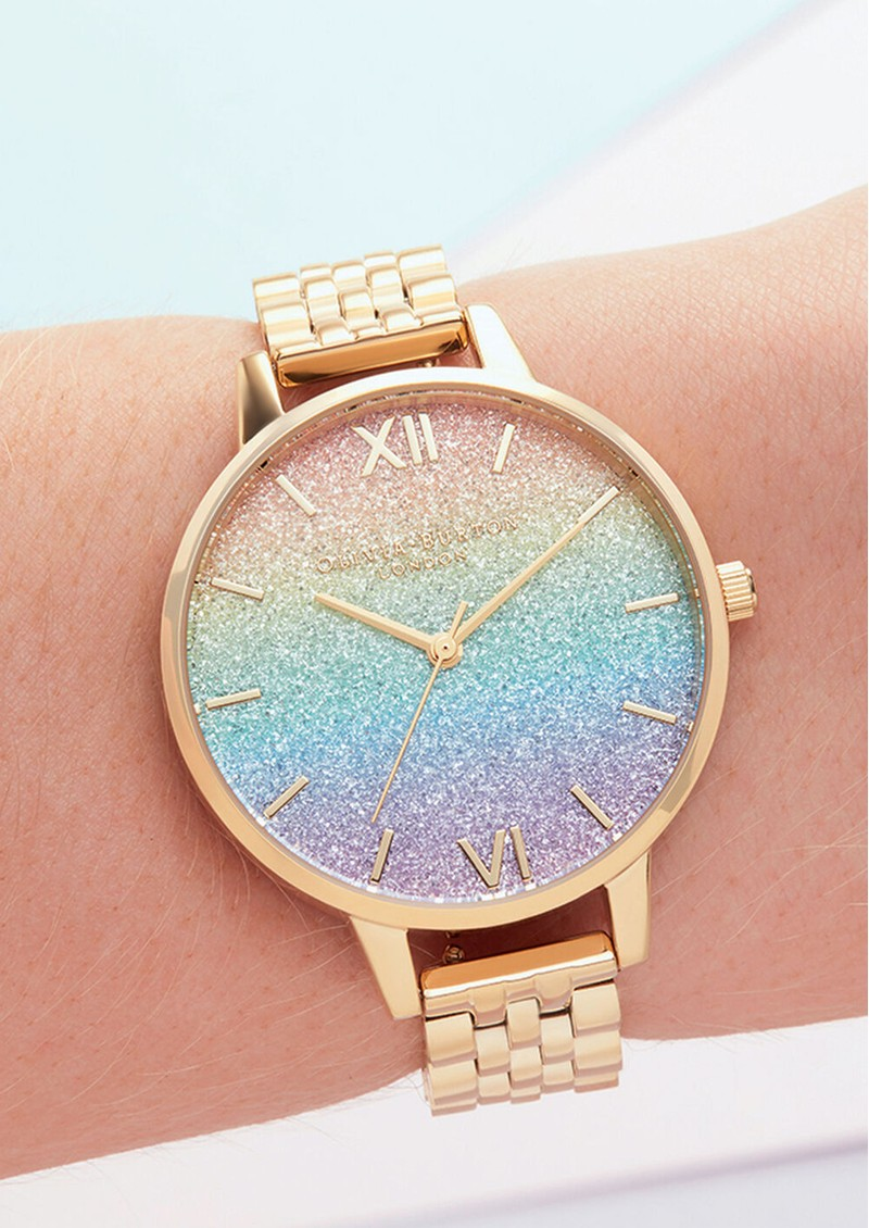 Olivia Burton Rainbow Glitter Demi Dial Bracelet Watch - Gold main image
