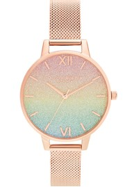 Olivia Burton Rainbow Glitter Demi Dial Mesh Watch - Rose Gold
