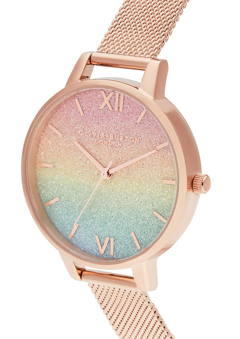 Rainbow Glitter Demi Dial Mesh Watch - Rose Gold main image