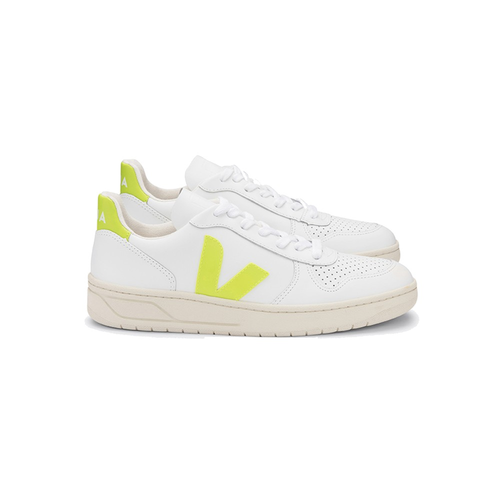 V-10 Leather Trainers - Extra White & Jaune Fluro