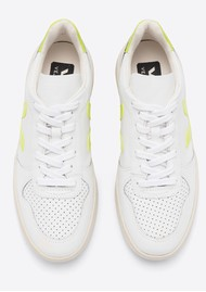 VEJA V-10 Leather Trainers - Extra White & Jaune Fluro