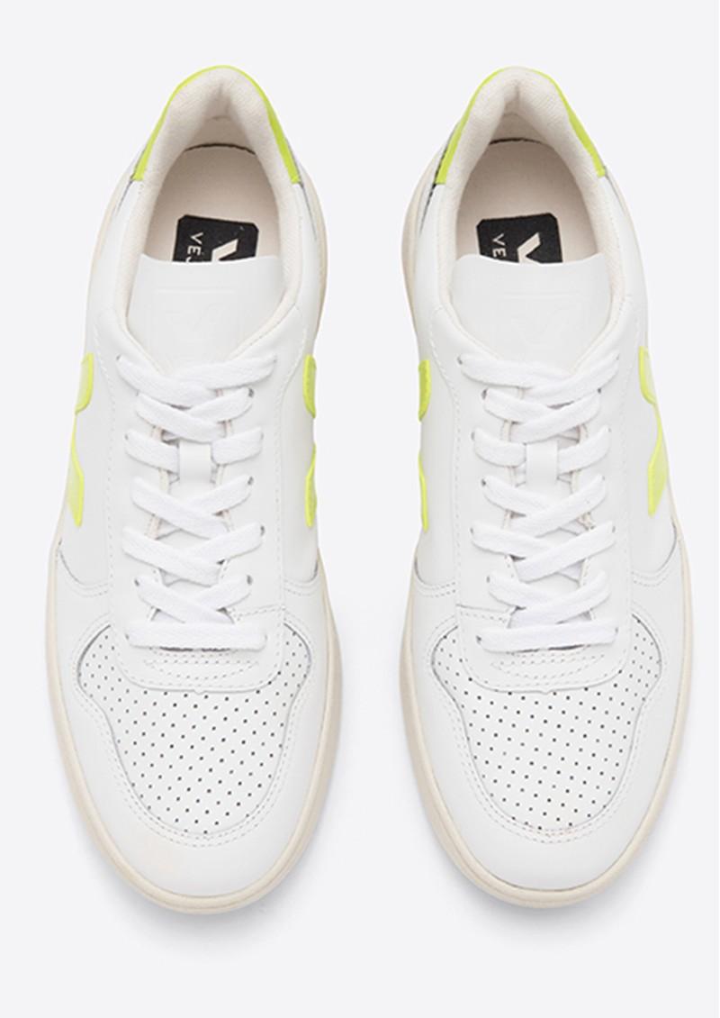 VEJA V-10 Leather Trainers - Extra White & Jaune Fluro main image