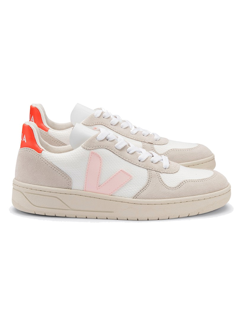 VEJA V-10 B-Mesh Trainers - White, Petale & Orange Fluro main image