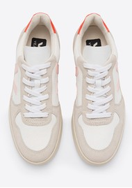 VEJA V-10 B-Mesh Trainers - White, Petale & Orange Fluro