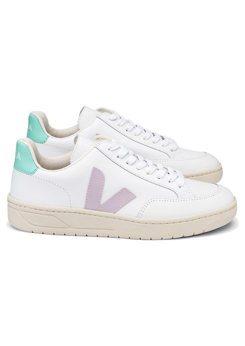 VEJA V-12 Leather Trainers - Extra White, Parme & Turquoise main image