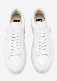 VEJA V-12 Leather Trainers - Extra White, Parme & Turquoise