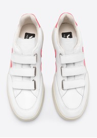 VEJA V- Lock Leather Trainers - Extra White & Rose Fluro