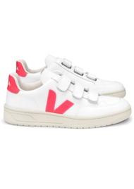 VEJA V- Lock Leather Trainers - Extra White & Rose Fluro