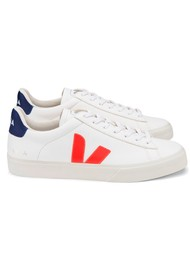 VEJA Campo Leather Trainers - Extra White, Orange & Cobalt