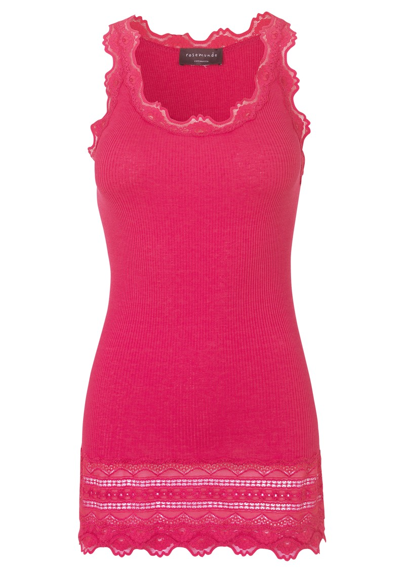 Wide Lace Silk Blend Vest - Carmine main image