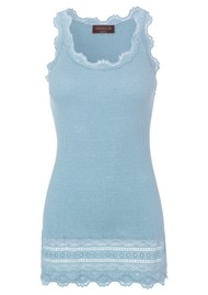 Rosemunde Wide Lace Silk Blend Vest - Blue Fog