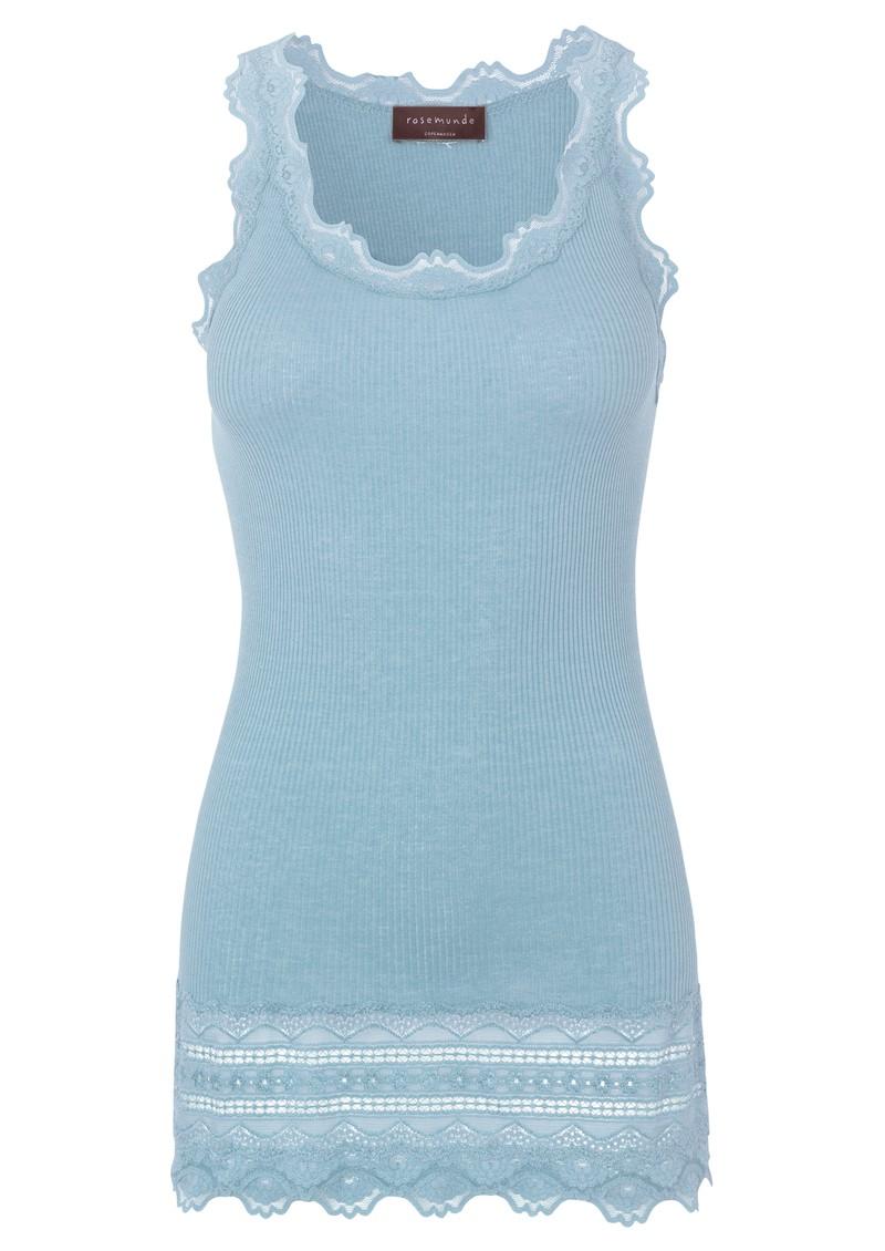 Rosemunde Wide Lace Silk Blend Vest - Blue Fog main image