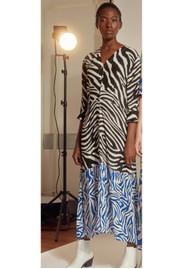 Pyrus Adele Printed Dress - Zebra Black & Blue