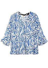 Pyrus Bianca Printed Blouse - Zebra Black & Blue