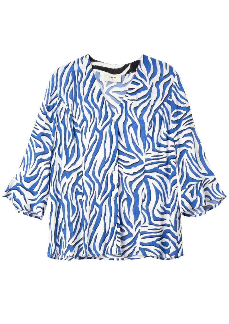 Bianca Printed Blouse - Zebra Black & Blue main image