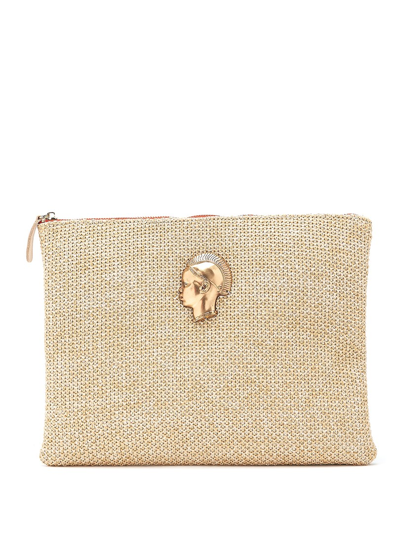Sous Les Paves Sunrise Raphia Clutch Bag - African Gold main image