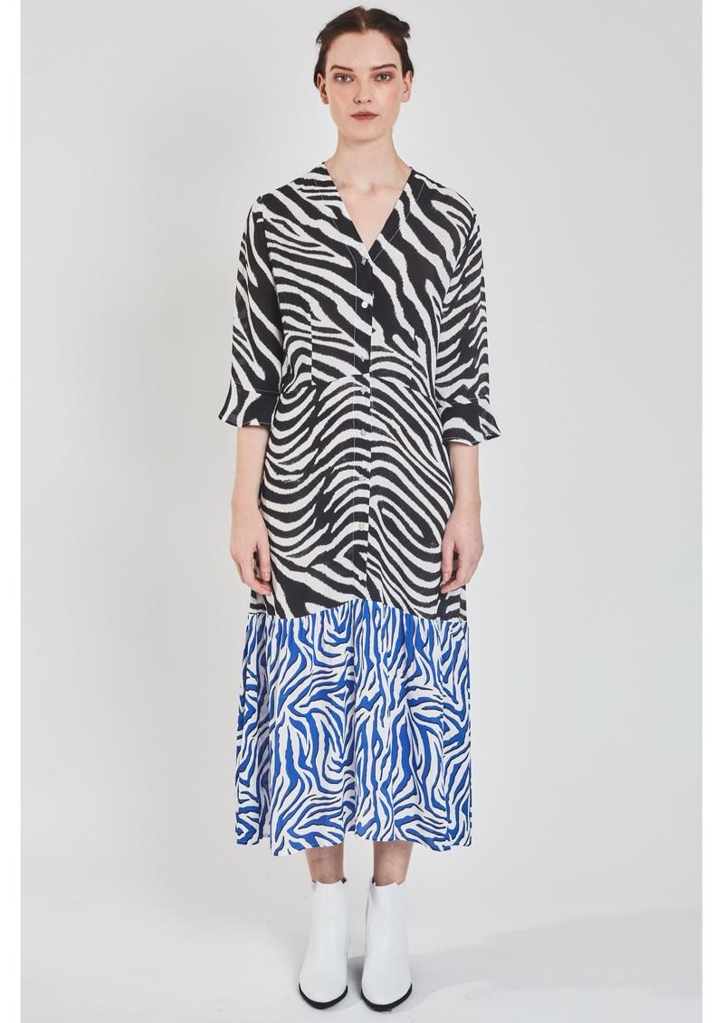 Pyrus Adele Printed Dress - Zebra Black & Blue main image