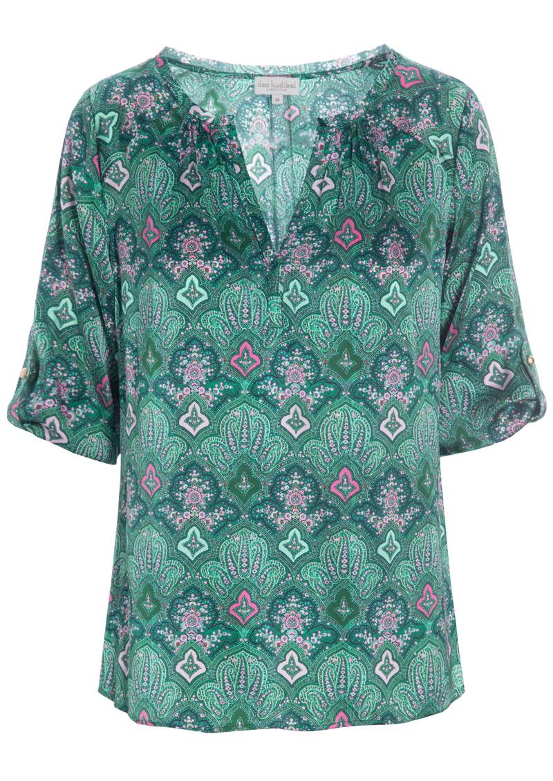 DEA KUDIBAL Natali Silk Tunic - Paisley Green main image