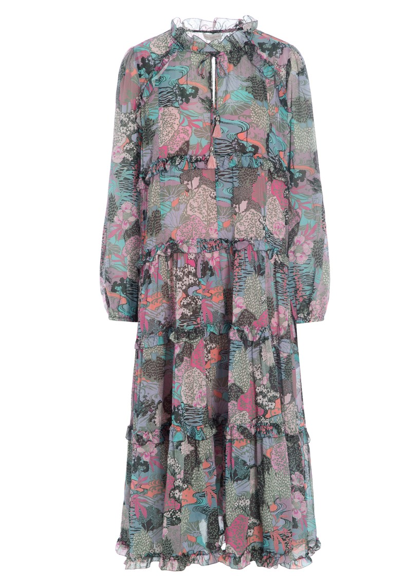 DEA KUDIBAL Felina Exclusive Silk Printed Dress - Woodland Pink main image