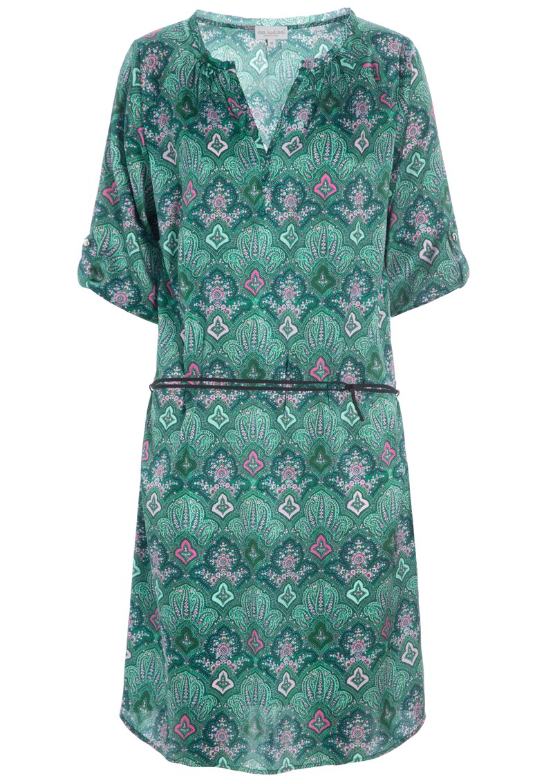 DEA KUDIBAL Maya Silk Printed Dress - Paisley Green main image