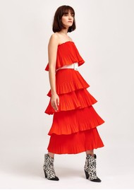 ESSENTIEL ANTWERP Valentina Ruffle Tiered Strapless Dress - Berry Red