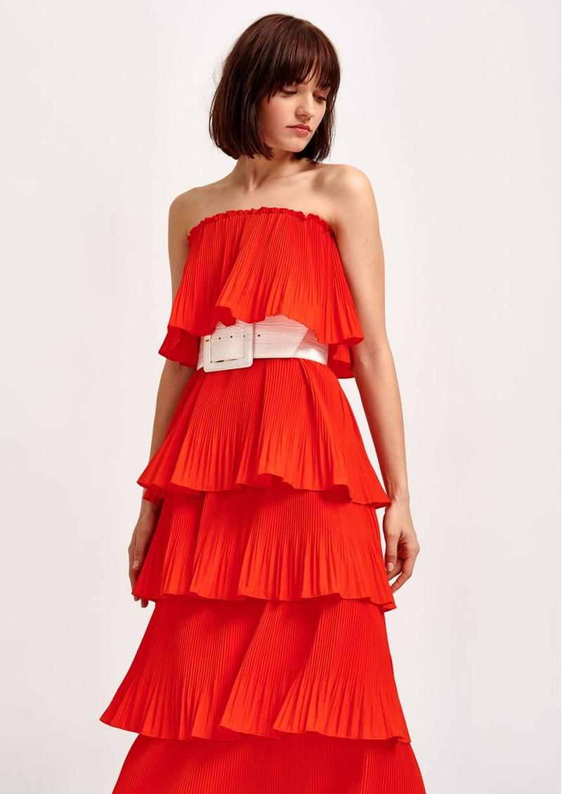 ESSENTIEL ANTWERP Valentina Ruffle Tiered Strapless Dress - Berry Red  main image