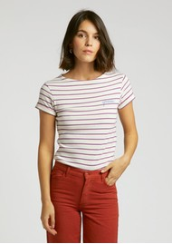 MAISON LABICHE Sailor Short Sleeve Cotton Yes Tee - Ivory Candy Pink