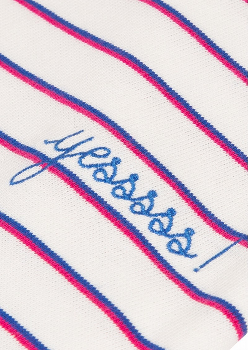 MAISON LABICHE Sailor Short Sleeve Cotton Yes Tee - Ivory Candy Pink main image
