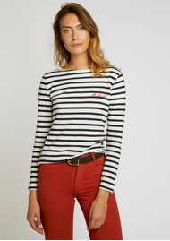 MAISON LABICHE Sailor Long Sleeve Cotton Oh La La Tee - Ivory Navy