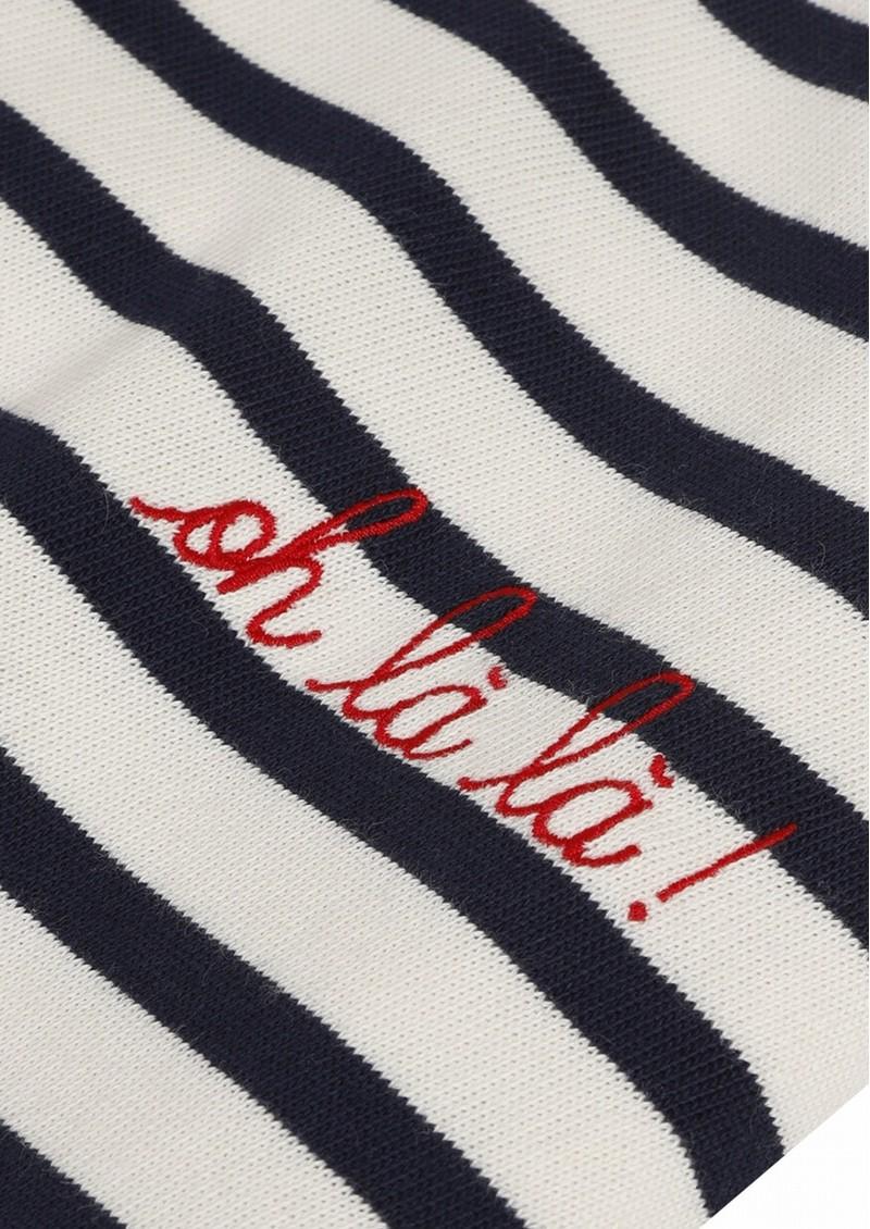 MAISON LABICHE Sailor Long Sleeve Cotton Oh La La Tee - Ivory Navy main image